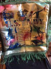 vintage US Navy souvenir satin pillow case circa 1950's mint - Mom & Dad