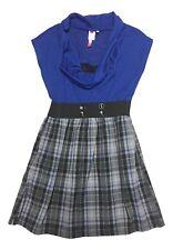 HeartSoul Size Medium Blue Sleeveless Cowl Neck Grey Plaid Pocket Dress NEW