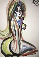 ORIGINAL Malerei A4 PAINTING abstract abstrakt erotica EROTIK Akt Zeichnung nu