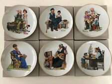 "Vintage 1984 Lot of 6 Norman Rockwell Museum Knowles 6-1/2"" Collector Plates"