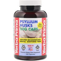 Yerba Prima Psyllium Husks Veg Caps 625 mg 180 Capsules Gluten-Free, GMP Quality