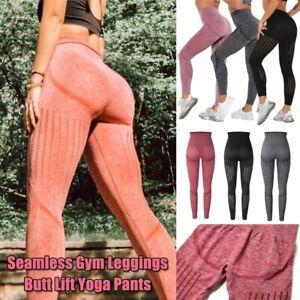 Women High Waist Seamless Leggings Push Up Sport Fitness Running Gym Trousers US