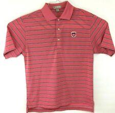 Peter Millar Summer Comfort Mens Pink Striped Sz M Medium Golf Polo Shirt *Logo