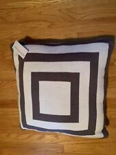 "Hudson Park Geo Knit 20"" x 20"" One Decorative Pillow White & Brown / Opaline"