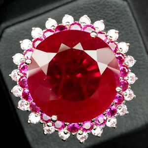 RUBY PIGEON BLOOD RED ROUND 32.20 CT. 925 STERLING SILVER ROSE GOLD RING SZ 6.25