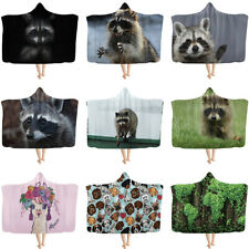 Hooded Blankets Kids Adult Large Blanket Bed Cute Cloak Mantle Manteau Raccoon