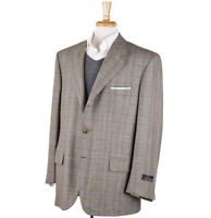 NWT $3995 D'AVENZA Woven Check 100% Cashmere Sport Coat US 48 R (Eu 58)