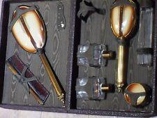 Antique leather vanity travel case Brush,Comb, Mirror, glass bottles