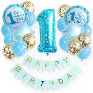 1st Happy Birthday Boy erster Geburtstag Baby Jungs Luftballons Set Deko Party