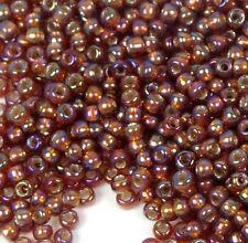 8/0 Fine Japanese TOHO Seed Glass Round Beads - Silver - Lined Rainbow Topaz 12g