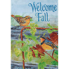 "THRUSHES ON HOPS WELCOME FALL 12.5"" X 18"" GARDEN FLAG 11-2669-41 RAIN OR SHINE"