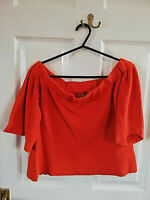 ASOS WOMENS ORANGE OFF SHOULDER CROPPED BELL SLEEVE TOP SIZE 10 SHORT LENGTH 15