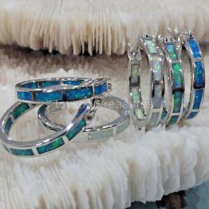 Stunning New Fire Opal Hoop Earrings - Kiwi Green - Blue or White