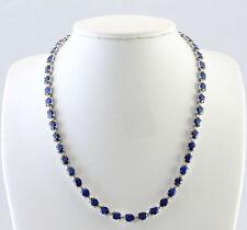 34.98 Carat Natural Sapphire 14K White Gold Diamond Necklace