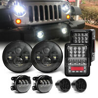 "7"" LED Headlights Fog Turn Tail Lights Combo Kits For Jeep Wrangler JK JKU 07-17"