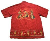 Tommy Bahama Mens Red Camp Hawaiian Graphic Silk Front Pocket Shirt Size Medium