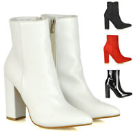 Womens Block High Heel Ankle Boots Ladies Smart Pointed Toe Booties Size 3-8