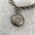 "VTG Watch Bracelet ""1928"" Mini Pocketwatch Victorian Steampunk Style Silver Tone"