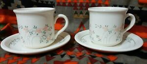 Vintage Biltons Coloroll England Floral Apricot Roses Teacups and Saucers pair