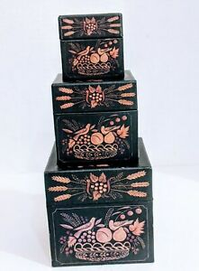 Bobs Nesting Stacking Boxes Primitive Rustic Country 3 Antique Theorem Made USA