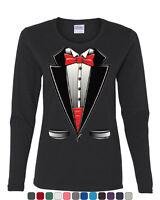 Funny Tuxedo Bow Tie Long Sleeve T-Shirt Tux Wedding Party
