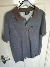 Genuine Animal Mens Polo Shirt Grey / Blue Floral Pattern & Brown Collar Size S