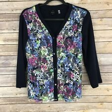 Rafaella Womens Sweater Cotton Knit Cardigan Floral Lace Front Lightweight PS