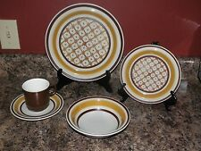 Casual Ceram Tapestry #9709 Electra Stoneware Plate/Bowl/Bread/Saucer/Cup Gold