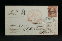 Massachusetts: Boston 1860 #26 Cover to Isle of Sholes, Portsmouth NH Forward