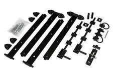"""18"""" Black Reversible Double Gate Hinge Kit for Fencing and Gates"""