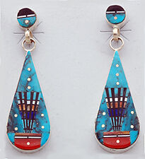 Navajo Sterling Silver with Micro Inlay Earrings by Ervin Tsosie