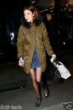 BNWT Topshop Khaki Nylon Padded Fur Lined Hooded Vtg Parka Jacket Coat 10 38 US6