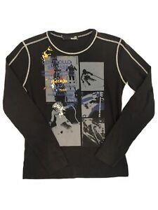 Love Moschino Mens Graphic Print Long Sleeve Tshirt Jersey L Black Ski Theme