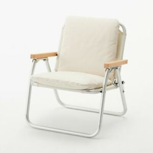 MUJI Foldable Aluminum × Wood Chair with Cushion Ivory Fast Shipping