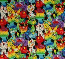 1/2 Yard Multicolored Cartoon Cats 100% Cotton Quilting Fabric Free Ship