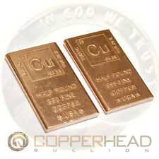 1 Pound lb (2 x 8oz Bars) Element Design Copper Bullion Bar Half 1/2 16 ounces