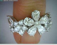 3.28 carat Pear shape & Round Diamond Ring Platinum Floral Band Gia report F Vvs