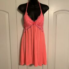 Victorias Secret Womens Lace Babydoll Chemise Nightgown Pink Nightie M🔥🔥