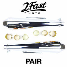 2FastMoto Reverse Cone Shorty Megaphone Exhaust Pair Cafe Racer Motorcycle BMW