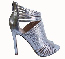 Black Silver Gold Strappy Platform Open Toe Stiletto Heels Booties Sandals Shoes