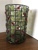 Red Beaded Metal & Wire Hurricane Candle Holder Summer Cherries!- Glass Interior