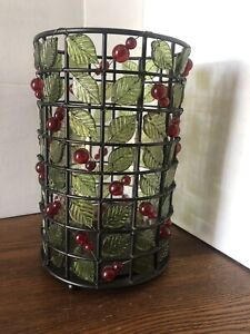 Red Beaded Metal & Wire Hurricane Candle Holder Christmas Holly - Glass Interior