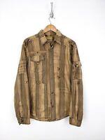 FUSAI Snap Button Up Shirt Men Large Brown Stripe Plaid Buttons Zipper