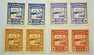 VENEZUELA Air Mail Stamps Scott C218-C221 Imperforate Pairs, Mint