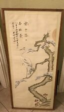 "Vintage Chinese HANGING SCROLL ART Painting ""White egret on willow tree"""