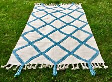 NEW Anthropologie tan turquoise Woven Marah Wool Fringe Edge 5 x 8 Rug MSRP $598
