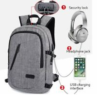 df48ef4ecbee2 Anti-theft Mens USB w  Charger Port Backpack Laptop Notebook Travel School  Bag