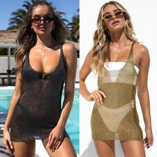 Sexy Women Summer Mesh Fishnet Bikini Cover Up Sarong Swimwear Mini Beach Dress