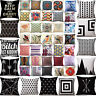 Geometric Vintage Flower Linen Cotton Pillow Case Cushion Cover Home Sofa Decor