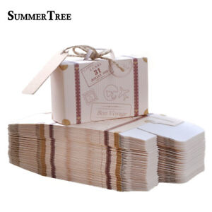 50-100pcs Candy Box Suitcase Gift Bags Travel Wedding Party Birthday Decoration
